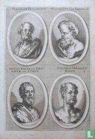 Portretten van: Polygnotus van Athene (5e eeuw v. Chr.); Polygnotus van Thasos (5e eeuw v. Chr.); Phidias (5e eeuw v. Chr.); Zeuxis (5e eeuw v. Chr.).