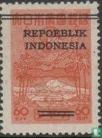 Opdruk 'Repoeblik Indonesia' met 2 strepen door Japanse tekens  kopen