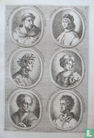 Portretten van: Fra Angelico (ca. 1395 - 1455); Fra Filippo Lippi (ca. 1406 - 1469); Francesco Petrarca (1304-1374); Laura; Paracelsus (ca. 1493 - 1541); Leon Battista Alberti (1404-1472).