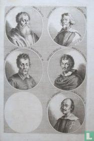 Portretten van: Giorgio Vasari (1511-1574); Giuseppe Cesari (1568-1640); Annibale Carracci (1560-1609); Caravaggio (1571-1610); Giovanni Lanfranco (1582-1647).