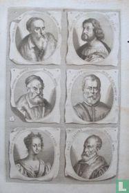 Portretten van: Titiaan  (ca. 1488 - 1576); Ludovico Ariosto (1474-1533); Giacomo da Ponte (1510-1592); Tintoretto (1518-1594); Marietta Robusti (1560? - 1590); Paolo Veronese (1528-1588).