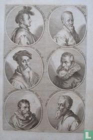 Portretten van: Hans Bocksberger de oudere (ca. 1510 - 1561); Frans Floris de Vriendt (ca. 1519 - 1570); Willem Adriaensz. Key (ca. 1515 - 1568); Christoph Schwartz (ca. 1545- 1592); Karel van Mander (1548-1606); Maarten van Heemskerck (1498-1574).