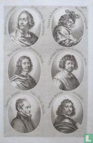 Portretten van: Frans Duquesnoy (1597-1643); Pieter van Laer (1599 - ca. 1642); Nicolas Poussin (1594-1665); Claude Lorrain (ca. 1600-1682); Daniël Seghers (1590-1661); Johann Both (?-?).