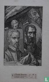 Portretten van Pieter Brueghel de Jonge (ca. 1564 - 1638), Joachim Beuckelaer (ca. 1530- ca. 1573) en Hubert Goltzius (1526-1583)