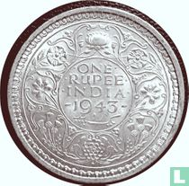 Brits-Indië 1 Rupee 1943 (b Muntzijde B)