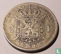 Belgium 2 francs 1867 (without cross on crown)