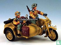 Motorcycle with Sidecar Two Riders