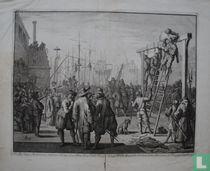 D'opper krygs Bouwmeester van den Hertog van Alva, Don Pedro Pacieco, beneffens twee Spaansche Jonkers, in den Jaare 1572. tot Vlissingen opgehangen.