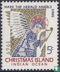 Mozaïek, engel met harp