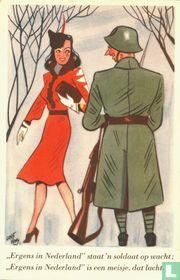 """05 """"Ergens in Nederland"""" staat 'n soldaat op wacht: """"Ergens in Nederland"""" is een meisje, dat lacht."""