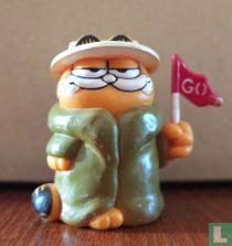 Garfield met regenjas, hoed en vlaggetje
