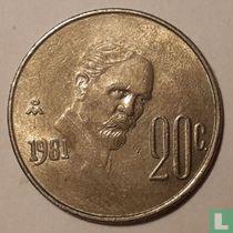 Mexico 20 centavos 1981 (gesloten 8, hoog jaartal)