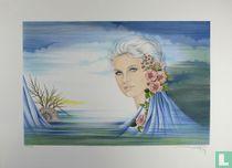 Femme Avec Fleurs au cheveux