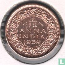 Brits-Indië 1/12 anna 1939 (2e hoofd, Calcutta)