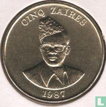 Zaïre 5 zaires 1987