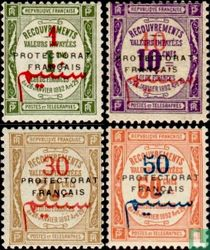 French port stamps with overprint