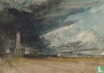 A Stormy Landscape with Obelisk and a Classical Portico, 1825