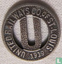 USA - St Louis, MO  United Railways Co Token  1919