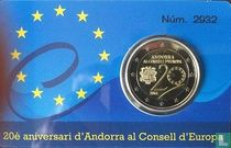 "Andorra 2 euro 2014 (coincard - PROOF) ""20th Anniversary of the entry of the Principality of Andorra to the Council of Europe"""