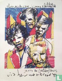 Herman Brood - Elvis jimi hendrix etc1993 litho