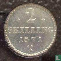 Norwegen 2 Skilling 1871 (mit Sternen)