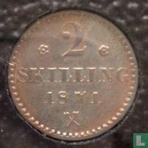Norwegen 2 Skilling 1871 (mit Rosetten)