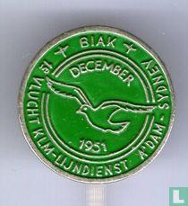 Biak - 1e vlucht KLM-lijndienst A'dam-Sydney december 1951 [groen]