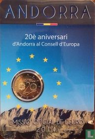 "Andorra 2 euro 2014 (coincard - Govern d'Andorra) ""20th Anniversary of the entry of the Principality of Andorra to the Council of Europe"""