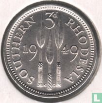 Zuid-Rhodesië 3 pence 1949