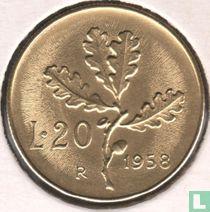 Italië 20 lire 1958