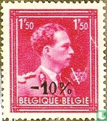 """King Leopold III, with Crown and """"V"""", with overprint"""