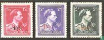 "Koning Leopold III, met kroon en ""V"", met opdruk"