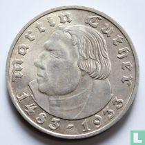 "Duitse Rijk 2 reichsmark 1933 (D) ""450th Anniversary of Martin Luther"""