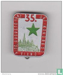 (EP) Pin Esperanto 1962 35a SAT-Kongreso en Vieno - Esperanto Congress in Vienna - St. Stephen´sCathedral & Giant Wheel