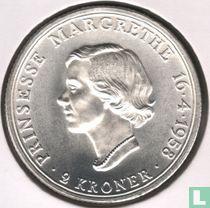 """Denemarken 2 kroner 1958 """"18e verjaardag prinses Margarethe"""""""
