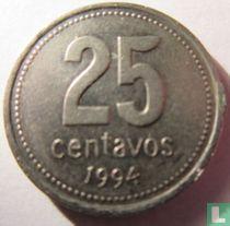 Argentinië 25 centavos 1994 (smalle toren)