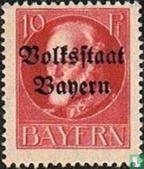 """König Ludwig III. Bayern mit Aufdruck """"Volksstaat Bayern"""""""