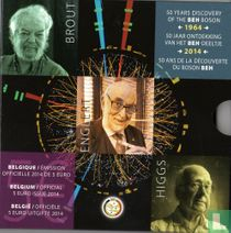 """Belgium 5 euro 2014 (PROOF - folder) """"50th Anniversary of the Discovery of the Boson BEH"""""""