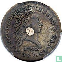 Verenigde Staten 1 cent 1792 (silver plug in center)