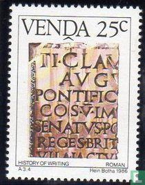 Geschiedenis van het schrift V