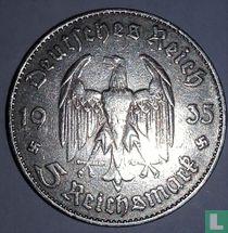 "Duitse Rijk 5 reichsmark 1935 (J) ""1st Anniversary of Nazi Rule - Potsdam Garrison Church"""