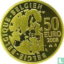 "Belgium 50 euro 2008 (PROOF) ""100th anniversary of Maurice Maeterlinck's play - l'Oiseau bleu"""