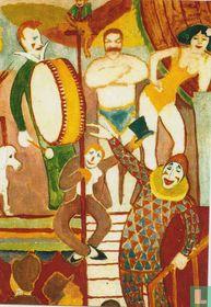 Cirkusbild II: Athletenpaar, Clown und Affe, 1911