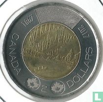 """Canada 2 dollars 2017 (non coloré) """"150th anniversary of Canadian Confederation - Dance of the spirits"""""""