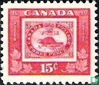 Reproductie van een postzegel uit 1851