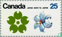 Emblem Expo '70 and white Trillium Blossom