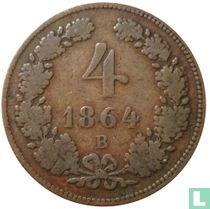 Austria 4 kreuzer 1864