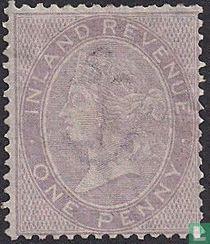 Koningin Victoria. Fiscale zegel gebruikt als postzegel