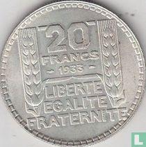 Frankrijk 20 francs 1933 (korte laurierbladeren)