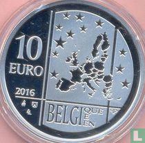 """Belgium 10 euro 2016 (PROOF) """"100 years General Theory of Relativity of Albert Einstein"""""""